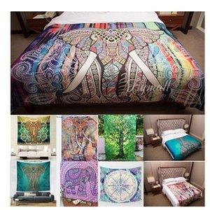 Листы моды Декор номеров Одеяло Слон Pattern Гобелен Разноцветный Mandala Печатный Гобелен Индийский Boho Стена Спальня Ковер Кровать