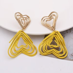 EK868 Korean Jewelry Round Triangle Heart Drop Earrings Yellow Wire Spiral Earrings Metal Maze Exaggerated Party Jewelry