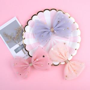 Le migliori clip di vendita Fancy principessa del merletto dei capelli con bling Stars Per Ragazze glitter Knot archi dei capelli dei capelli dei bambini di accessori 111