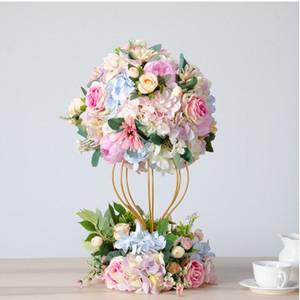 Роскошные настройки свадьбы обеденного стола цветок мяч Дорога привел цветы украшения окна с золотой железой стенда цветы набор 2pcs
