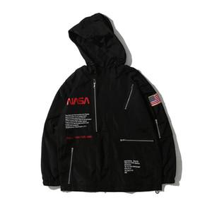 Giacca da uomo manica lunga stampata con colletto alla lettera stampato bandiera americana sciolta con cappuccio giacca a vento impermeabile nera