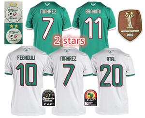 2019 2 yıldız JERSEY FUTBOL gömlek algerie Afrika Kupası Cezayir FUTBOL FORMALARI ANA UZAK AFCON Mahrez Feghouli Brahimi BOUNEDJAH Bouazza 19