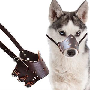 Animaux de gros colliers pour chiens Laisses en cuir fournitures PU trou réglable vente à chaud confortable Solf morsures de chien Évitez couleur solide élégant 0139