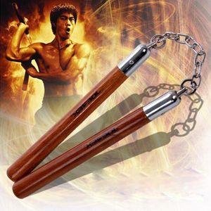 Wholesale- Seil Stahlkette Edelstahl Nunchakus Actual Kampf anzeigen Martial Arts Supplies Leistung Props All-Stahl Zwei Sticks