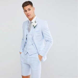 2020 Handsome Young Mens Wedding Tuxedos Suits (Blazer+Short Pants+Vest) Fashion Blazer Suits For Prom Evening Party Weddings Custom