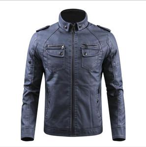 Luxury PU Mens Designer Jacket Fashion Solid Color Multi Pocket Coat Mens Winter Designer Stand Collar Leather Outerwear