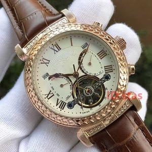 De lujo para mujer de cuero para hombre PP SKY MOON Tourbillon diseñador hombres grabado caja reloj de pulsera relojes automáticos reloj