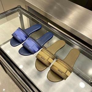 Mulher designer Dway pano azul mulas meninas moda slide piscina Sandálias interior casa causais chinelos planas