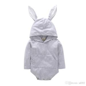 Ostern Jumpsuits lange Ärmel Baby-Kaninchen-Spielanzug mit Kapuze Häschen-Ohr-Creeping-Klage-Kleinkind-Strampler Big Pocket-Plüsch-Schwanz 20fyb1