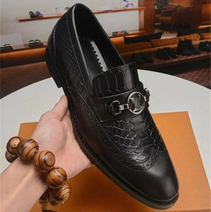 2020 Mens Shoes Leather luxurious Design Social Brans Adult Fashion Dress Genuine Leather Casual Men Driving Shoe Loafers Size 38-45