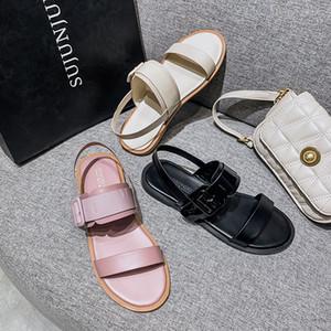 CINESSD PU Damenschuhe Fashion Sommer 2020 Weiche Flache Sandalen Bequem Solide Gladiator Sandalen Frauen Rom Turnschuhe Frauen 43
