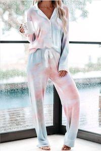 Summers Free for Pyjamas Tiedye für Damen Crew Neck Tie Dye Pyjama Short-Sets Set Abbindebatik Weibliche Nachtwäsche Blumendruck Bwkf