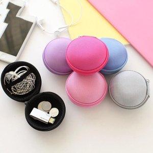 Cartão SD portátil Coin Purse colorido Canvas Zipper Bag fone de ouvido cabo Mini Box Headphone Bag Bolsa de Transporte bolso de armazenamento LXL1140-1