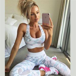 Designer Damen Sweat Anzüge Frauen Camouflag Fitness Kleidung Anzug Zweiteiler Sportswear-Weste Hosen Anzüge Crop Top-dünne Ineinander greifen Anzug