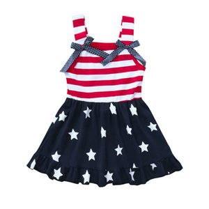 0-6Y Baby Kids Girl Dress bandeira americana Estrelas listrado balanço Vestido de Verão Fashion Dress Crianças