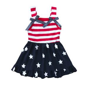 Girl Dress 0-6Y scherza American Flag Stelle a strisce swing Sundress Dress Kids Fashion