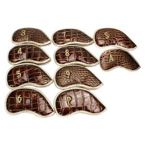 Гольф Железный головных уборов пакет 10шт Club Охватывает Set (3,4,5,6,7,8,9, A, S, P) для левой и правой руками, кожа Утюги клуб Headcovers