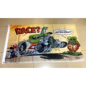 Rat Fink Race Flag 3x5FT 150x90cm Printing 100D polyester Decoration Flag With Brass Grommets Free Shipping