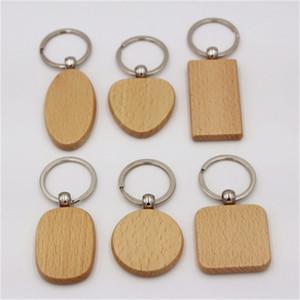 사용자 지정 빈 라운드 심장 스퀘어 모양의 나무 열쇠 고리 크리 에이 티브 나무 키 버클 웨딩 생일 선물을 남자와 여자 1 45rt H1