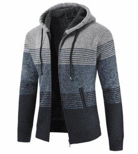 Imprimir listrada manga longa com capuz Mens Coats Contraste Cor Masculino roupas grossas Cardigan Mens Designer camisola do inverno