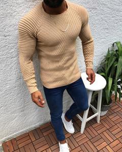 DIHOPE otoño del resorte de punto de los hombres casuales 2019 Nueva llegada suéter de los hombres de manga larga del O-Cuello de punto remiendo suéteres sólidos
