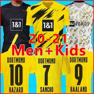 20 21 BVB Borussia Dortmund maillot de foot 2020 2021 HAALAND GÖTZE REUS Jersey Witsel Paco Alcácer MEN chemise kit maillots de football + kit enfants ensembles enfant de la