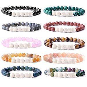 8 MM Pierre Bracelet Femmes Hommes Guérison Yoga Perles Stretch Bracelets Pierre Naturelle Énergie Cristal Agate Bracelet Rond