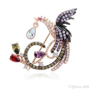 Fashion Crystal Corsage Christmas Lady Wedding Phoenix Brooch Bride Zircon Dress Ornament Designer Female Accessories Gift