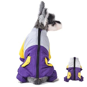 Pet Clothes Winter Dogs Puppy Down Cotton Jacket One-Piece Zip Up Coat Thickening 4 Legged Long Sleeve Outfit