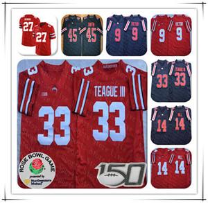 2019 штата Огайо Buckeyes College Jersey 9 Binjimen Victor 33 Master Teace III 27 Eddie George 45 Archie Griffin Shift рубашка черная 150th