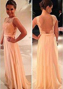 Привлекательная новая прозрачная спина Bateau свадьба свадебное платье шифон довольно розовый задний кружевный персик длинные вечернее вечернее платья невесты