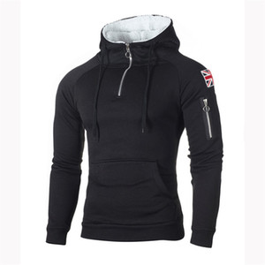 hoodies Men's Sweater Decorative Zip Neckline Hooded Long Sleeve Sleeve Rice Sticker Pocket Sweatshirt New Arrival