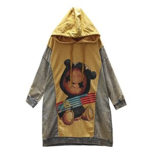 20200222 New style art color matching cartoon printing large size Sweater Hoodie women's mid long autumn