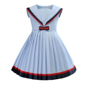 자녀의 스커트 쌰 해군 칼라 색상 충돌 대학 바람 여자가 드레스 주름 치마 공주 스커트 조류 020303