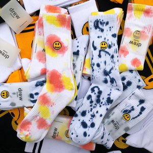 Hombre para mujer Moda Tie tinte Calcetines de algodón Hip Hop Drew Impresión Calcetines de calle Hombre Mujer Casual Streetwear