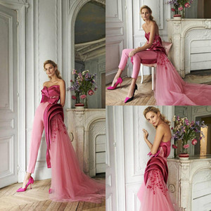 Azzi&Osta Fuchsia Prom Jumpsuit with Side Remove Train 2020 Sweetheart Ruffles 3D Floral Evening Dress with Pant Suit Engagement Gowns