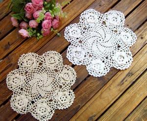 HOT Rodada lugar da tabela rendas de crochet de algodão de pano mat pad copo placemat doilies caneca toalha de mesa cozinha colocação de jantar