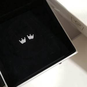 Orijinal Kutusu ile Pandora Kadın Küpe Magic Taç Küpe 925 Gümüş Gül Altın Kaplama CZ Elmas Orijinal Box Set