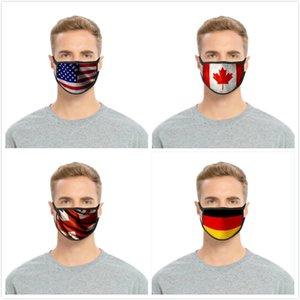 American Flag Máscara de América Día de la Independencia a prueba de polvo impresión de la manera de seda del hielo cara diseñador de máscaras de tela de algodón lavable mascarilla