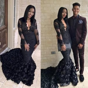 Gorgeous Black Mermaid Prom Dresses 2019 Sweep Train Evening Gowns South African V Neck Sheer Long Sleeves Formal Party Dress