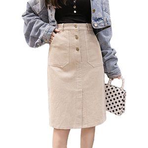 Elegante Streetwear Corduroy Faldas Mujeres Otoño Invierno Botón de Cintura Alta Falda Midi Más Tamaño Harajuku Falda Damas Jupe Femme S19715