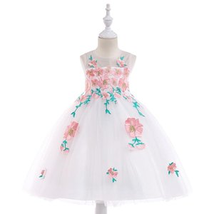 Lace flower tulle dress birthday party dress for baby girls sleeveless embroidered princess formal wedding