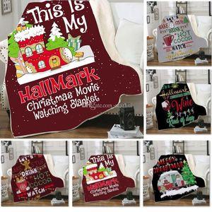 8 Styles Christams Fleece Blanket 3D Double Warm Soft Blankets Cloak Cape Shawl Sofa Throw Blanket For Kids Children Adult WX9-1647