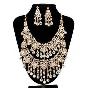 도매 나이지리아 비즈 목걸이 쥬얼리 설정 Tassels austrian crystal necklace and earrings wedding necklace 무료 배송
