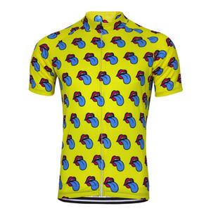 Camisa HIRBGOD 2020 Lengua Nueva Jersey Hombres divertido Cycling Yellow Bike manga corta linda de la historieta ropa de la bici, MT074