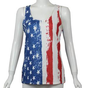Donne Lersure maglia della camicia della bandiera americana Independence National Day Stati Uniti d'America 4 Luglio stelle della banda stampato senza maniche che basa Top plus Donne Top