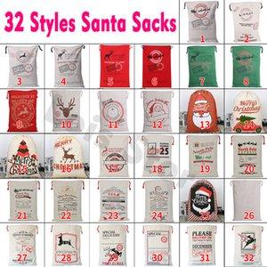 100pcs rápido envio / lote de Santa Presente de Natal Sacos Bolsas Grande cordão Canvas Stocking Bag Candy Cane Red Cadeia de Santa Bolsa