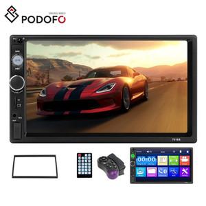 """Podofo Автомобильный радиоприемник Mirror Link Autoradio 2 Din Универсальный автомобильный DVD 7 """"дюймовый HD сенсорный экран Bluetooth Управление рулевого колеса + рамка"""