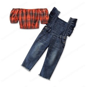 Baby Summer Clothing 1-6T Fashion Kid Baby Girl Clothes Set Plaid Balloon Sleeve Vest Crop Top Denim Suspender Pants Outfit