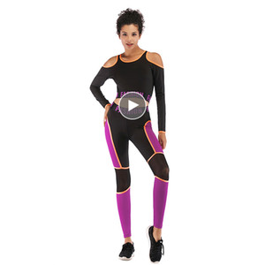 LAISIYI 2019 New Women Fitness Training Set Plus Size Leggings Long Sleeves Top Workout Sportswear Women Gym Two Pieces Suit